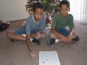 my twins, playing the consonant vowel consonant word game